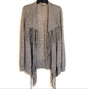 Rebecca Taylor Fringe Drape Cardigan Sweater EUC